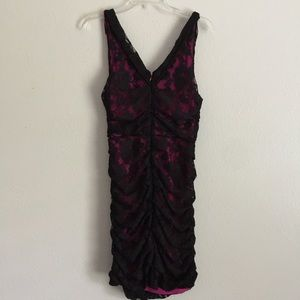 Express Dresses - Express Fuchsia Pink And Black Floral Lace V Back